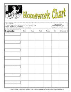 homework chart template