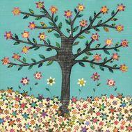 Retro Flower Tree Art Print