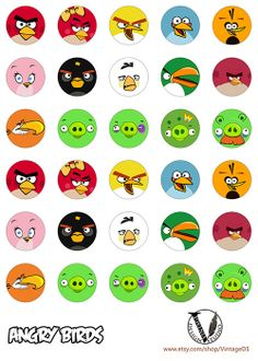 Angry Birds Birthday party Hershey Kiss Stickers от VintageDS, $3.99