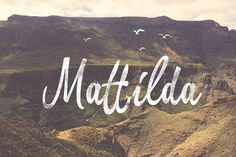 Mattilda is a script typeface inspired by free style brush lettering which is great to use in urban and free design styles. It is bold, fun and attractive. You can make your own brush-lettering logo, wedding invitation, greeting cards, etc. Brush Script, Brush Lettering, Hand Lettering, Script Typeface, Calligraphy Fonts, Cursive, Handwriting Fonts, Matilda, Typographie Inspiration
