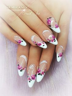 Gel french nails, flower water stickers, white lines,