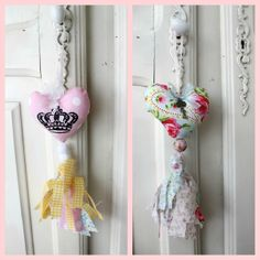 Door Heart hanger with beads and a tassel Crafty Projects, Diy Projects To Try, Christmas Cross, Kids Christmas, Mobiles, Arts And Crafts, Diy Crafts, Small Pillows, Passementerie