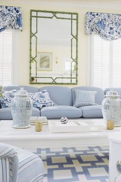 When it comes to making decorating decisions, all eyes are on the walls. Paint can completely change the way a room looks and feels. Here are our favorite living room paint colors. For more paint and color inspiration go to Domino. Coastal Living Rooms, Home Living Room, Living Room Designs, Blue Living Rooms, Coastal Cottage, Cottage Living, Coastal Homes, Coastal Farmhouse, Cottage House