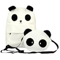 Women's Lovely White Panda Canvas Backpack With a Small Panda Shoulder Bag