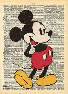 Vintage Mickey Mouse Print #mickeymouse #HappyBirthdayMickey Request a quote at http://destinationsinflorida.com/pinterest to see Mickey Mouse up close!