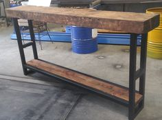 Recycled solid Oregon hall table / console with bottom shelf  made by recycledtimberfurnitureoz.com