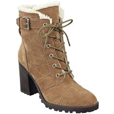 Ivanka Trump Gentry Suede and Faux Fur Ankle Boots (250 CAD) ❤ liked on Polyvore featuring shoes, boots, ankle booties, brown, suede booties, brown booties, short brown boots, brown boots and brown lace-up boots