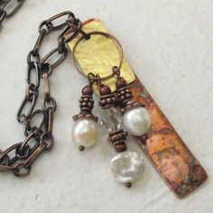 RuSTiC HaNDCRafTed CoPPer BRaSs NecKLaCe wiTH WHiTe by dreamspirit, $26.00