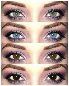Coloured contacts - Same make up. Different eye color. My natural eye is like the bottom. With contacts it's a brighter version of the top Makeup Tips, Beauty Makeup, Hair Makeup, Hair Beauty, Beauty Stuff, Makeup Tutorials, Pretty Eyes, Beautiful Eyes, Colored Eye Contacts
