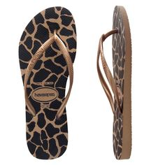 Havaianas Slim Animals Rose Gold. Release your wild side with classic animal print Havaianas. Featuring rose gold skinny straps, and giraffe print in gold and black on neutral base.Receive a free limited edition Havaianas animal print zip bag with every Slim Animals style ordered!Havaianas are made from premium quality Brazilian rubber. All thongs come with our 6 month quality guarantee.