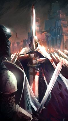 Lone Templar by tantaku Great stylistic effect and almost physically hand created theme Medieval Knight, Medieval Fantasy, Fantasy Armor, Dark Fantasy, Knights Templar Symbols, Marshmello Wallpapers, Knight Tattoo, Crusader Knight, Christian Warrior