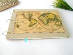 World map sketchbook journal refillable and by ExiArtsEcoCrafts