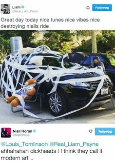Today (May 9) in 2015 - Lilo take it upon themselves to 'redecorate' Niall's car (lmao)