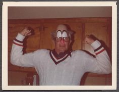 Vintage Color Photo Funny Man in Clown Mask & Glasses 522442