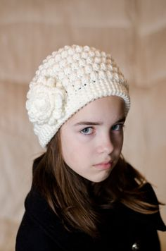 Creamy White Bobble Beanie from Etsy $20