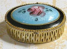 Pill Box Vintage Guilloche Enamel Oval Aqua by RosePetalResources, $28.00