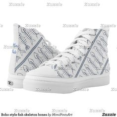 Shop Boho style fish skeleton bones high tops created by MimiPintoArt. Fish Skeleton, Skeleton Bones, Boho Style, Boho Chic, Gifts For Your Boyfriend, Tech Gifts, Treasure Chest, Top Shoes, Color Splash