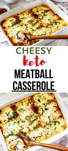 This cheesy Keto Meatball Casserole with ricotta is guaranteed to keep your tastebuds singing. Perfectly seasoned meatballs topped with ricotta cheese, marinara, and mozzarella in a simple combination that never fails to satisfy. Kid friendly and PERFECT for your low carb diet. #meatballcasserole #kickingcarbs #casserole #lowcarb #ketomeatballcasserole