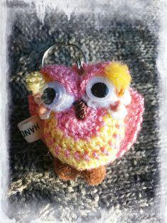 """Polly Pink"" crochet owl keyring made by Ella Blue"