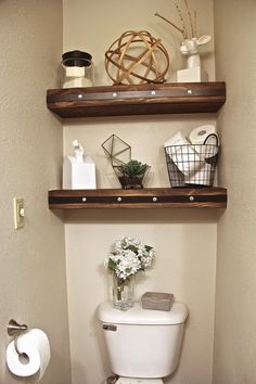 Diy bathroom shelves over toilet decoration photo 6 of 9 best over toilet storage ideas on . Over Toilet Storage, Bathroom Shelves Over Toilet, Small Bathroom Storage, Bathroom Toilets, Toilet Shelves, Wall Shelves, Wooden Shelves, Small Bathrooms, Bathroom Cabinets