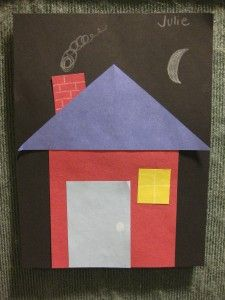 Houses out of construction paper shapes. Toddler story time at the Verona Public Library.