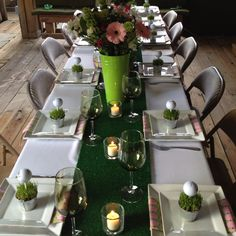 I like the green pails used for centerpiece vases.