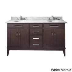 Avanity Madison 60-inch Double Vanity in Light Espresso Finish with Dual Sinks and Top | Overstock™ Shopping - Great Deals on Bath Vanities