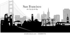 Black and white silhouette vector illustration of San Francisco USA skyline with golden gate bridge and downtown cityscape in pale gray - stock vector Cityscape Silhouette, Building Silhouette, Silhouette Images, Silhouette Vector, San Francisco California, San Francisco Skyline, San Francisco Cable Car, Skyline Image, Car Illustration