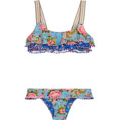 Anjuna Giselle crochet-trimmed printed bikini (1.730 BRL) ❤ liked on Polyvore featuring swimwear, bikinis, bathing suits, azure, floral swimsuit, swimsuits bikini, swim suits, bikini bathing suits and bikini swimsuit