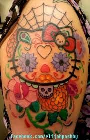 hello kitty sugar skull tattoo