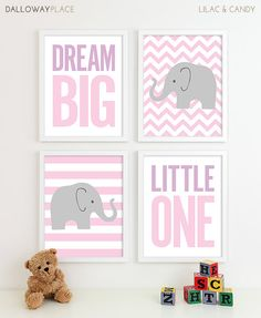 Baby Girl Nursery Art Chevron Elephant Nursery Decor by DallowayPlaceKids