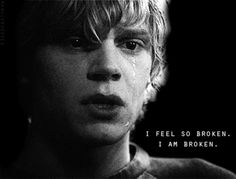 Tate Langdon american horror story Black and White perfection sad AHS perfect black broken Black & White lovely dark boy crying Tate cry insane sadness darkness feeling Series Kit kit walker AHS asylum AHS season 1 black and white AHS Ahs Season 1, American Horror Story Quotes, Trauma, Tate And Violet, Boy Crying, I Am Broken, Evan Peters, Film Serie, Horror Stories