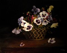 Pansies in Basket Classical Old World Style Oil Painting Floral, painting by artist JEANNE ILLENYE
