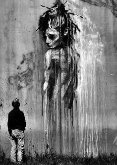 Dark mural artwork by Rouille