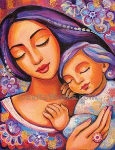 EvitaWorks..Mother and child art motherhood art print divine feminine spiritual women baby room ideas nursery wall print 8x10.5 12x16