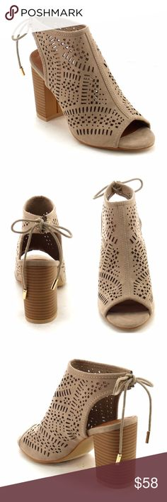 "Laser Cut Peep Toe Booties Laser cut Sandal Bootie. Peep Toe. Back closure. Color Taupe, stack chunky heel approx 3"". Man made suede. Lulupie Shoes Ankle Boots & Booties"