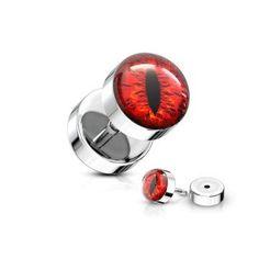 Fake Plug rotes Auge aus Edelstahl - noch viele weitere Fakepiercings findest du im Onlineshop » seit 2003 online » schneller Versand » jetzt günstig kaufen  #fakeplug #fakepiercing #fakeplugs #ohrpiercing Fake Piercing, Piercings, Fake Plugs, Cufflinks, Accessories, Red Eyes, Stainless Steel, Peircings, Piercing