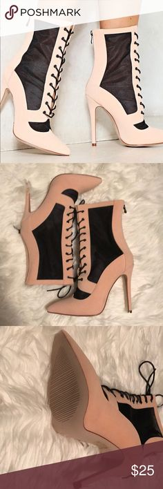 Nude and Black Lace Up Ankle Boot Brand New with Box Never Worn Lace Up Ankle Boot  Nude Area is Faux Suede  Black (Netted Material) Black Laces UK Size 8/ US Size 10 - Runs Small Shoes Ankle Boots & Booties