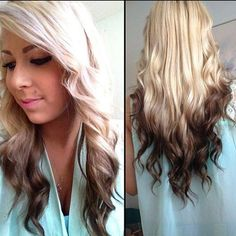 Get reverse Ombre at http://www.famehairextensions.com/peroxide-blonde-into-brown-dip-dye-clip-in-hair-extensions---ombre-full-head-716-p.asp