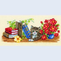 Literate Cat - counted cross-stitch kit Vervaco