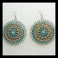 Large Zuni Sterling Silver and Turquoise Cluster Earrings from lantiques on Ruby Lane