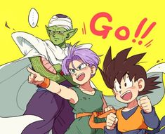 :d black eyes black hair blue eyes cape child clenched hands crossed arms dougi dragon ball dragonball z green skin happy looking away male focus multiple boys namek nervous open mouth pants piccolo pointing pointy ears purple pants short hai Me Anime, Anime Manga, Anime Art, Otaku Anime, Generation Z, Blade Runner, Dragon Ball Z, Goten Y Trunks, Dragonball Super