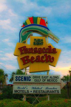 Pensacola Beach Sign, Pensacola, Florida (day)