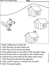 Three Little Pigs  Read the story and print related worksheets.