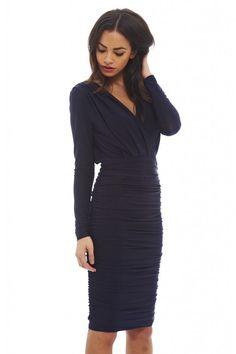 a192525973790 AX Paris Womens Navy V Front Slinky Midi Dress Glamorous Stylish Fashion