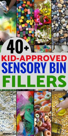 Sensory activities: Expland your sensory bin activities with more than 40 sensory bin filler ideas for your next bin!
