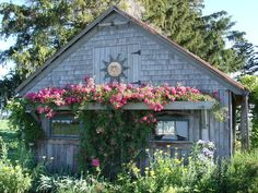 love the window box on this garden shed???? Shed, oh no, I'll take it for a quaint little house.