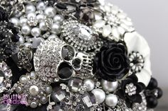 Black, White & Silver Brooch Bouquet by Nic's Button Buds.  Can you see the skull, owls and crosses in this one?