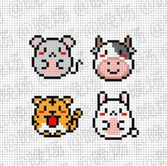 Cow, mouse, bunny and tiger Perler Bead Templates, Diy Perler Beads, Pearler Bead Patterns, Perler Bead Art, Perler Patterns, Hama Beads Kawaii, Small Cross Stitch, Beaded Cross Stitch, Cross Stitch Embroidery