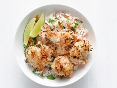 Coconut Shrimp with Tropical Rice Recipe : Food Network Kitchen : Food Network Healthy Coconut Shrimp, Coconut Shrimp Recipes, Rice Recipes, Seafood Recipes, Cooking Recipes, Recipies, Coconut Prawns, Dinner Recipes, Coconut Curry
